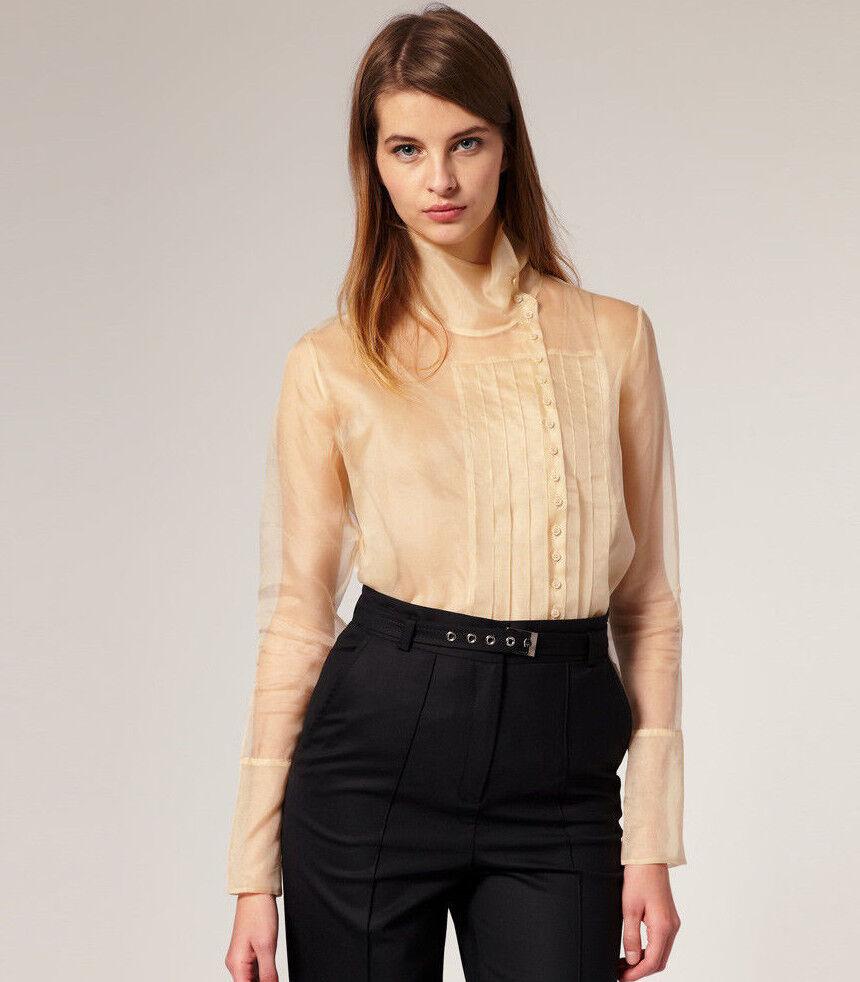 NWT  British Designer Weiß Silk Organza Pleat Shirt with French cuff CREAM