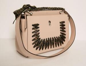 d594216367e Image is loading FENDI-Blush-Pink-Leather-DOTCOM-Ribbon-Whipstitch-Shoulder-