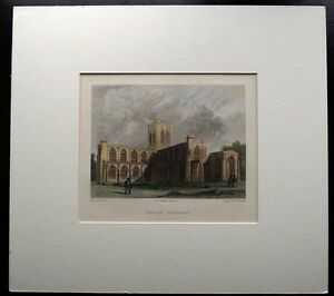 CHESTER-CATHEDRAL-original-hand-coloured-antique-print-c1840