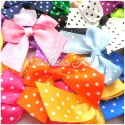 Polka Dot//Spotty Satin Ribbon Bows-Pks of 6 /& 12 Bows-Handmade- 15mm Ribbon