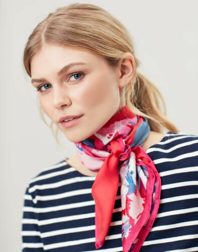 Joules Womens Bloomfield Square Silk Scarf Red Floral One Size