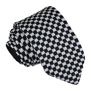 05acb939237a Image is loading DQT-Knit-Knitted-Checkered-Check-White-Black-Casual-