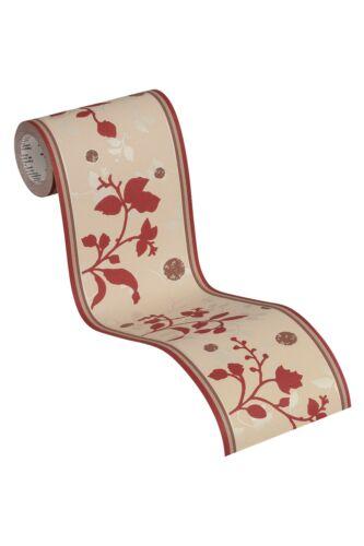 selbstklebende Blumen Bordüre Blätter natürlich rot creme Braun leicht glänzend