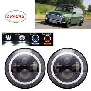 Dot-7-034-Redondo-Negro-LED-Faros-Halo-Hi-Lo-Beam-Para-Classic-Mini-Austin-Rover