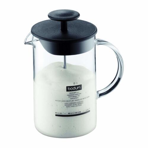 Bodum Latteo Appareil à faire mousser le lait en verre de borosilicate 0.25 L Noir