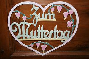 Uraltes-grosses-Muttertagsherz-aus-gepraegter-Pappe-34x39cm-Pastellfarben-Vorkrieg