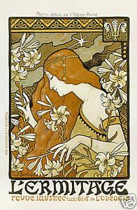 Repro Art Nouveau Style Advertising Print 'l'ermitage' Ref#1 Sturdy Construction Antiques