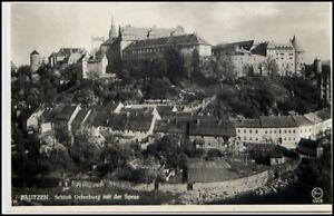 BAUTZEN-Sachsen-um-1930-40-Partie-Schloss-Ortenburg-mit-der-Spree-alte-Postkarte