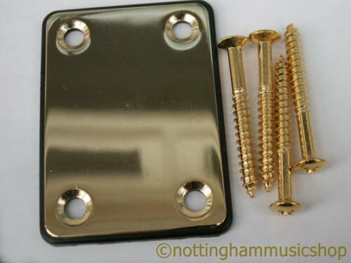 Electric guitar gold plated steel neck plate black cushion screws ST TL