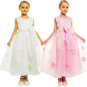 33943236046d La imagen se está cargando Vestido-Nina-Dama-de-Honor-Flores-Fiesta-Rosa-