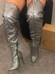 Charlotte-Russe-Silver-Sequin-Stiletto-Crotch-Over-Knee-Boots-Sz-5-Thigh-Boots