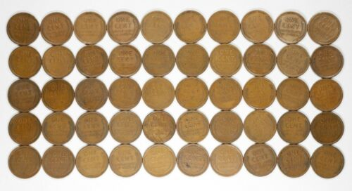 1909 P LINCOLN WHEAT CENT PENNY G VF GOOD TO VERY FINE FULL ROLL 50 COINS