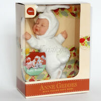 ANNE GEDDES DOLLS 'Bean Filled' collection NEW in Box BABY WHITE BUNNY Doll 9''
