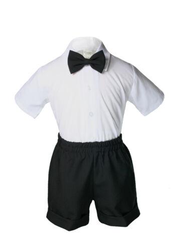 2T 3T 4T New Infant Boy /& Toddler Black Wedding Vest Shorts Suit Outfits 0-24M
