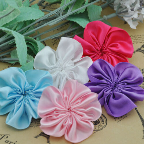 """30PC Satin 2 /""""Ribbon Sewing Wedding AppliquesFlower 5 colors Free Shipping A0200"""