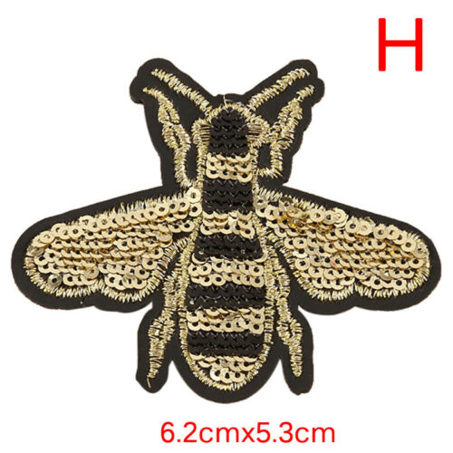 Bee Owls Embroidery Sew Iron On Patch Applique Sequins Shoes Cloth Accessory DIY
