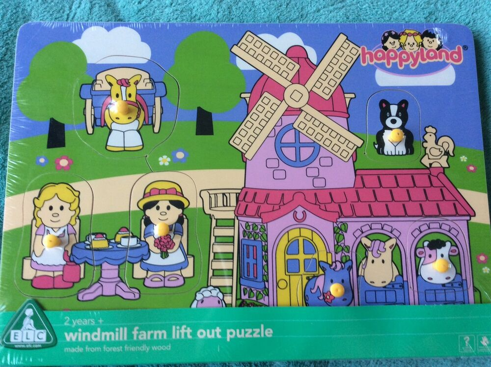 Elc Happyland Windmill Farm Lift Out Woodenpuzzle