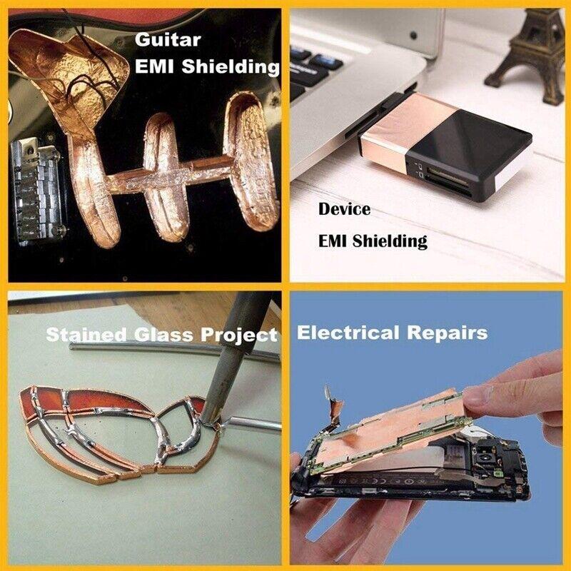 DIY Adhesive Conductive Copper Slug Roll Tape Repellent Guitar Pickup EMI Shield