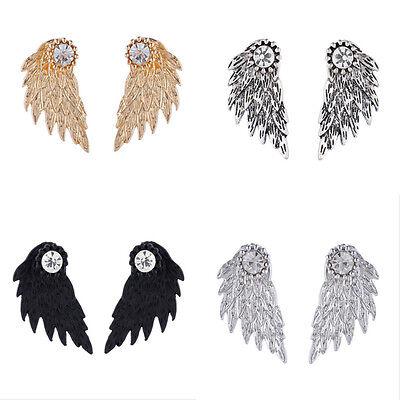 Women Angel Wings Crystal Rhinestone Ear Stud Dangle Earrings Jewelry Fashion