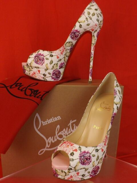 new product 995a0 03920 Louboutin Fetish PEEP Toe 150 Latte Watersnake Floral Platform PUMPS 38