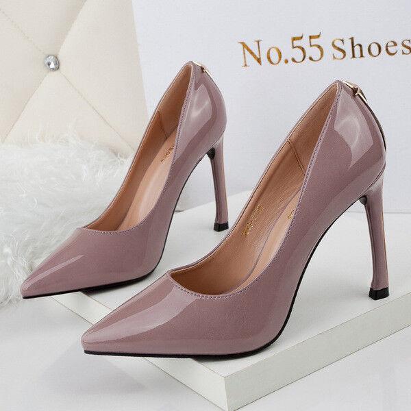 zapatos de tacón salón mujer elegantes tacón de de aguja 8.5 cm rosa colorido abierto 087a08