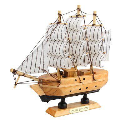 "Handmade 6"" Wooden Sailboat Model Ship Model Wood Sailing Boat Home Decor Gift"