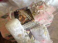 Baptism Candle Set Pink/ SET PARA BAUTIZO CAJA DE MADERA /ANGEL DE LA GUARDA