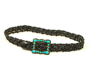EUC-Braided-Faux-Leather-Black-Belt-with-Faux-Turquoise-Buckle