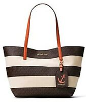 Michael Kors Stripe Canvas Large East West Tote Brown Orange Bag Anchor Hang