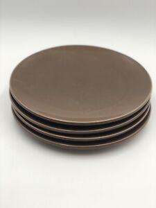 Set of 4 Pottery Barn Studio Barbara Eigen Dinner Plates Cocoa Brown
