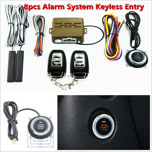 Keyless Entry Car Security Alarm System Push Button Starter Remote