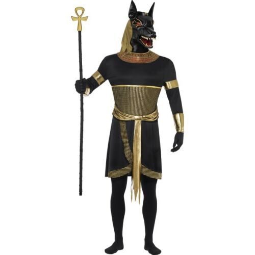 Men/'s Anubis The Jackal Costume Fancy Dress Halloween Egyptian Horror Outfit