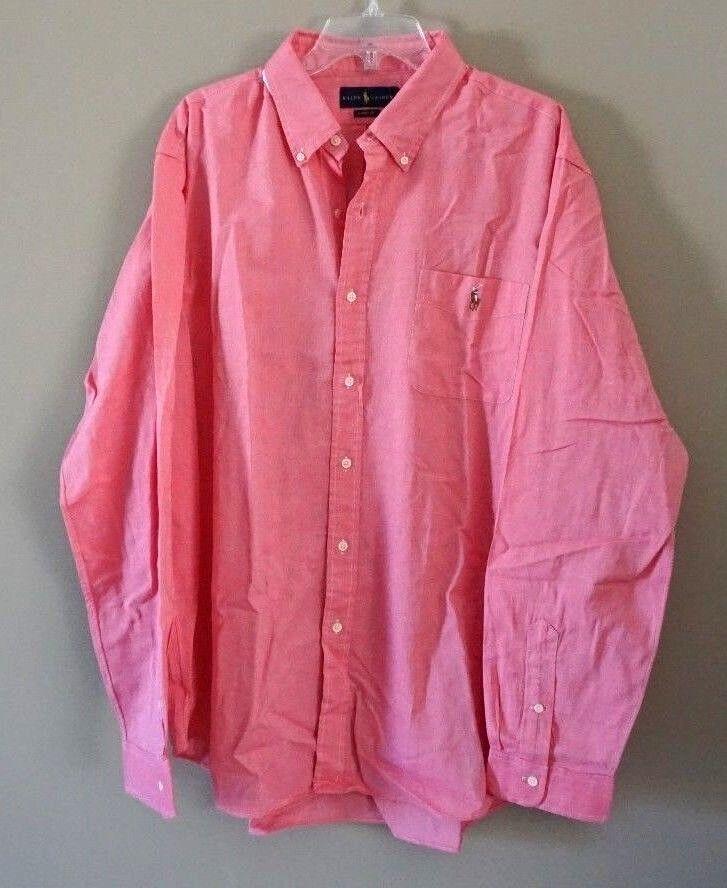 Ralph Lauren Men's Light Red Long-Sleeve Knit Oxford Shirt Size 2XL