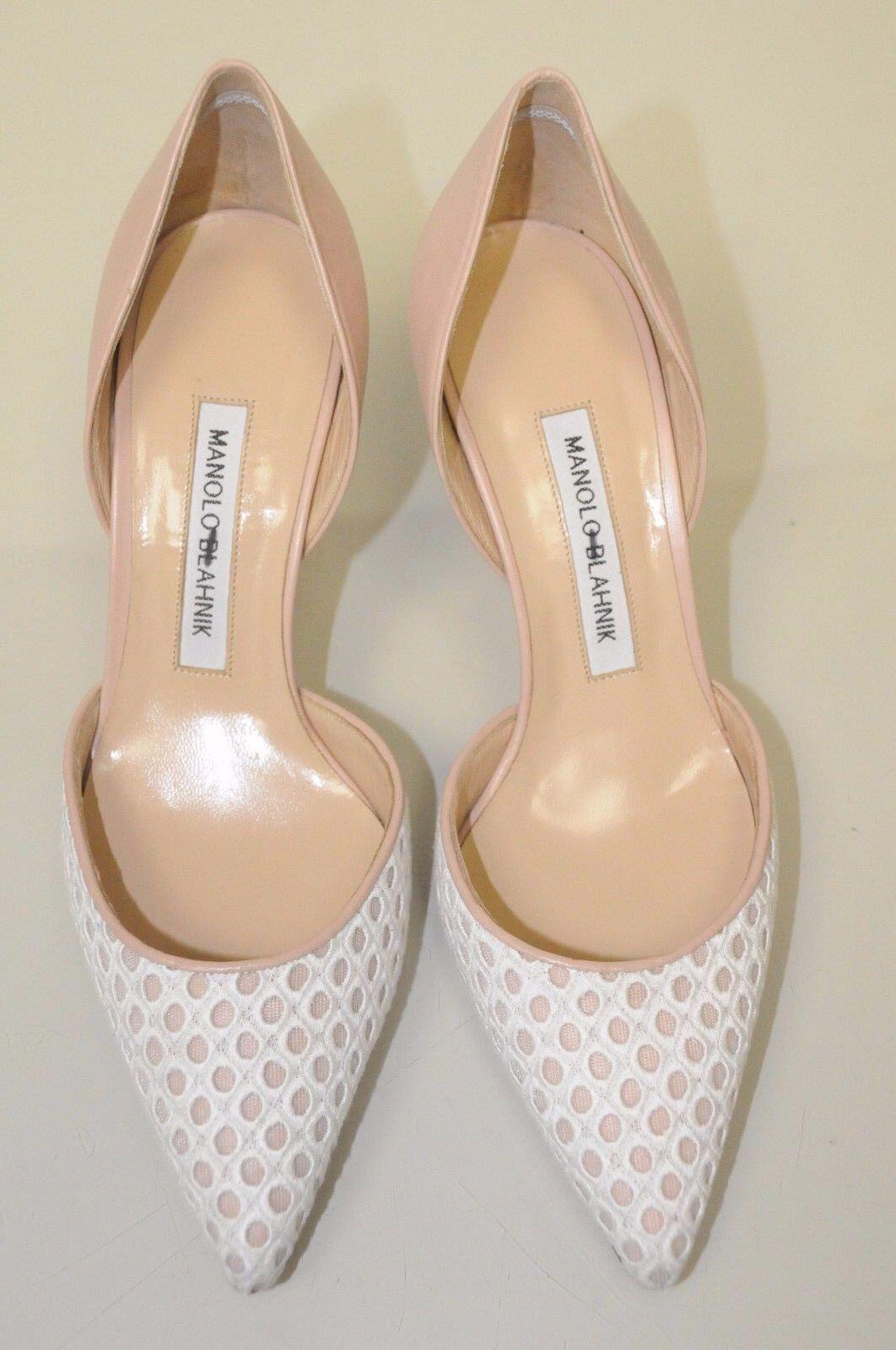 New Manolo Blahnik Tayler Nude bleush Lt Beige blanc Eyelet Eyelet Eyelet Pumps Dorsay chaussures 37 775ade