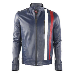 Men Red and White Stripes Sheepskin Leather Jacket