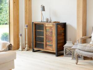 Urban Chic Furniture Reclaimed Wood Sliding Door Storage Cupboard ...