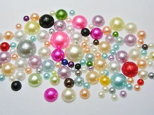 500-Mixed-Color-Acrylic-Round-Half-Pearl-Assorted-Size-4mm-12mm-FlatBacks-Craft