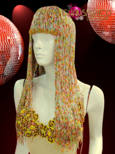 """CHARISMATICO Rainbow pastel blunt cut beaded """"Cher"""" styled Diva/'s beaded wig"""