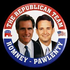 "2012 The Republican Team Mitt Romney Tim Pawlenty 3"" Campaign Pinback Button"