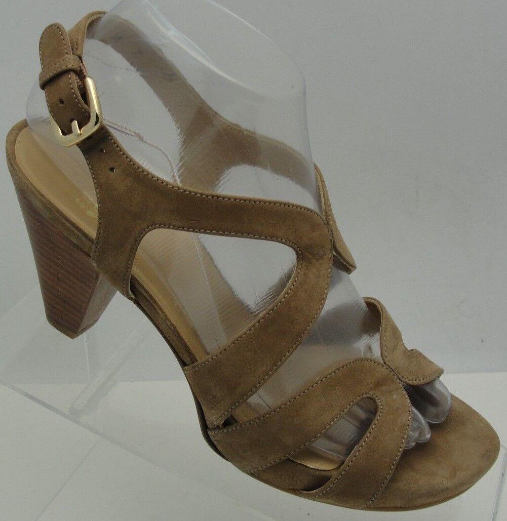 Stuart Weitzman Tan Suede Slingback 3  Block Heel Strappy Sandals Sz 7M