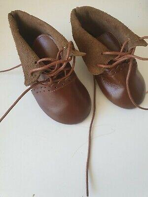 Shabby Braune Leder-Boots HANDARBEIT 9,5 cm Sohlenlänge f Bär oder Puppe