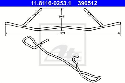 Bremssattel für Bremsanlage Vorderachse ATE 11.8116-0197.1 Feder