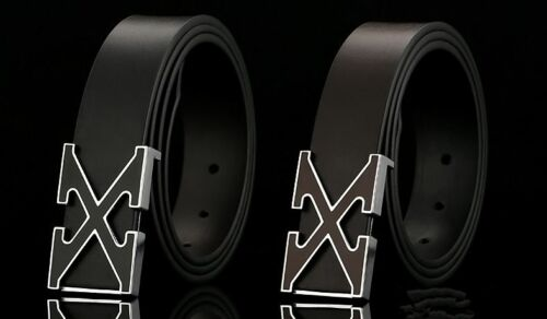 New X Men Buckle Leather Business Casual Black Waist Belt Metal Plate Gifts UK