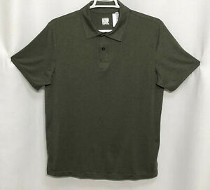 Mens WeatherProof XL Solid Green Polyester Short Sleeve Polo Rugby Golf Shirt