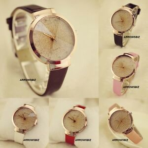 Sand-Starry-Dial-Diamond-Glass-Fashion-Analog-Wrist-Watch-Leather-Strap-6-Colors
