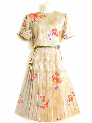 Vtg 1980s does the 40s Dress ANDREA GAYLE Embossed Floral Sz 8 Coral Green Beige