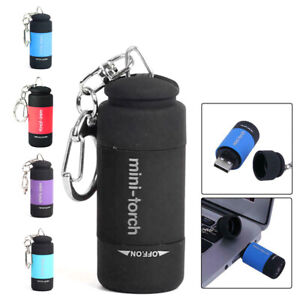 Mini USB Rechargeable Torch LED Light Flashlight Lamp Pocket Keychain Torch Cute
