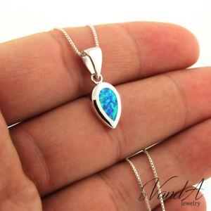 Sterling-Silver-925-Teardrop-Necklace-Blue-Opal-Pear-Shape-Pendant-Necklace-N147