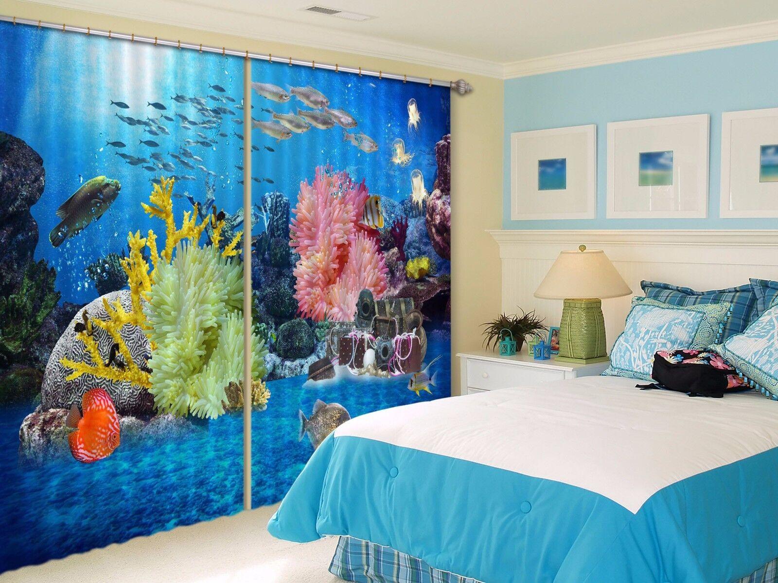 3D Sea World 683 Cortinas de impresión de cortina de foto Blockout Tela Cortinas Ventana Reino Unido