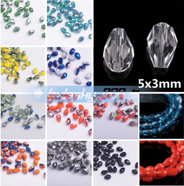 100pcs Faceted Glass Crystal Charms Findings Teardrop Spacer Loose Beads 5X3mm